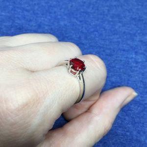 .925 Sterling Silver Red Ruby Gemstone Ring 7mm